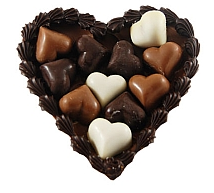 chocolade hart met bonbons
