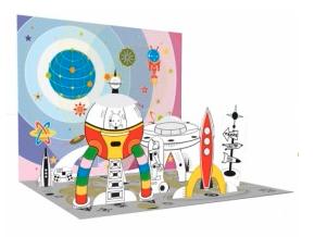 pop up kleurplaat ruimtevaart