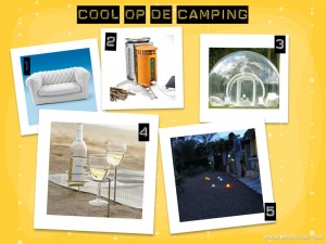 collage gadgets camping