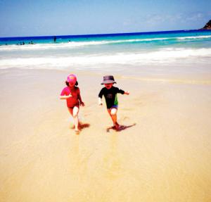 rennen op het strand in Down Under