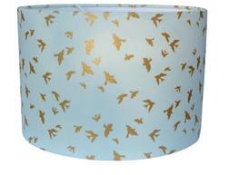 blauwe lamp met gouden vogeltjes