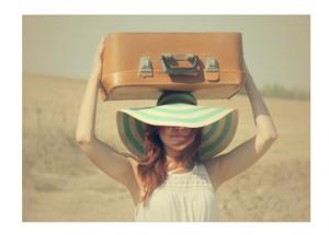 koffer op hoofd