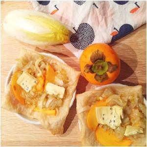 witloftaartjes met cambozola en kakifruit
