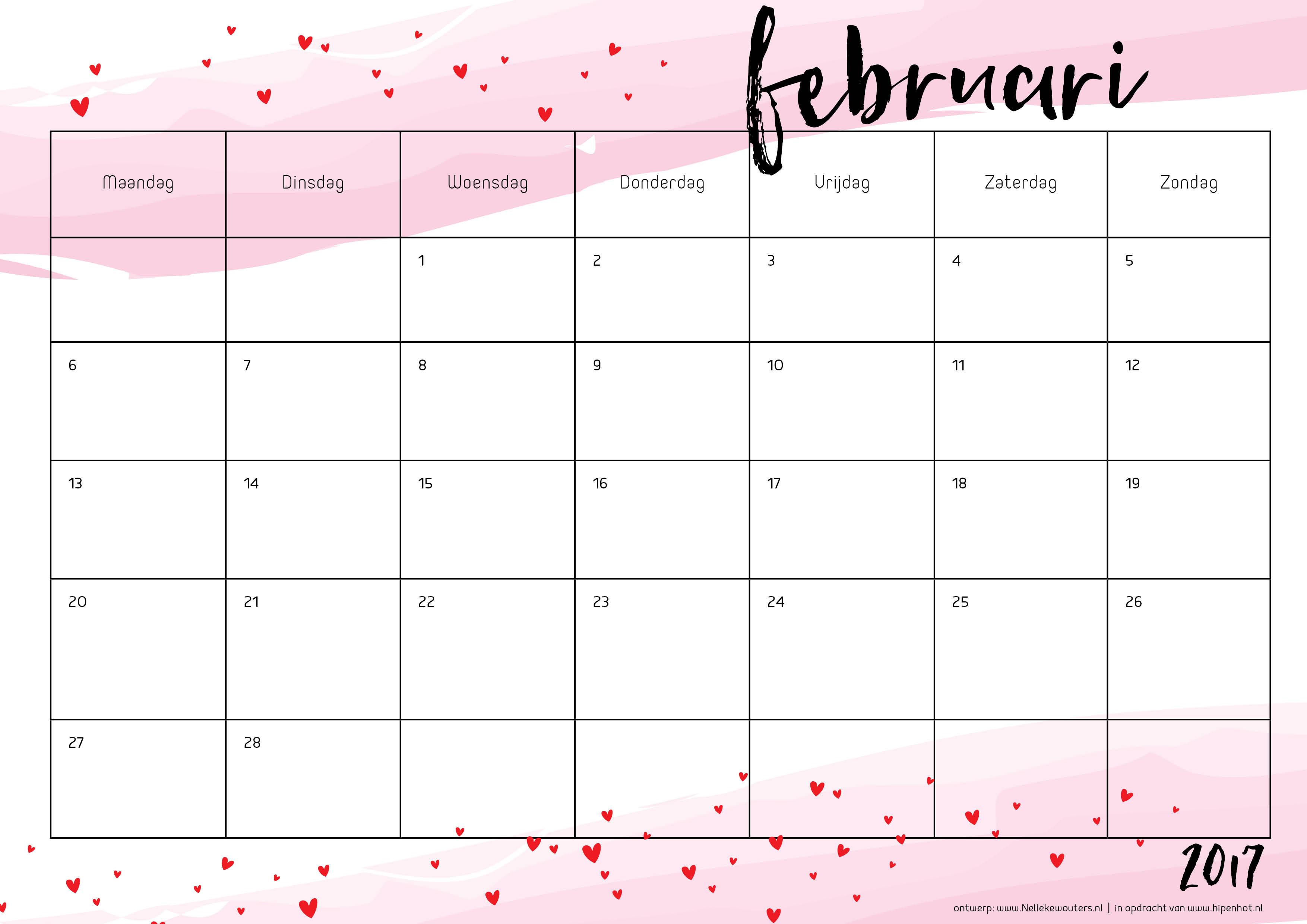Free Printable Kalender Voor 2017 Hip Amp Hot Blogazine