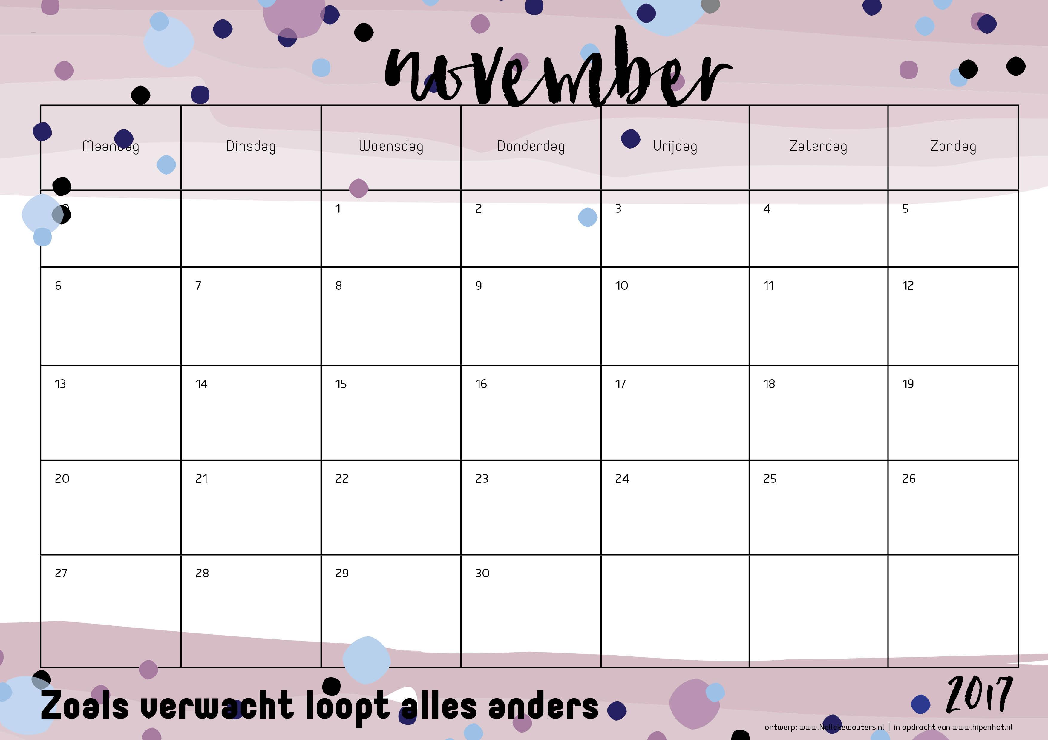 Free Printable kalender voor 2017 - Hip & Hot - blogazine
