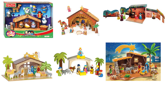 6 x kerststallen voor kinderen