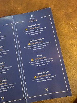 dinner train menukaart