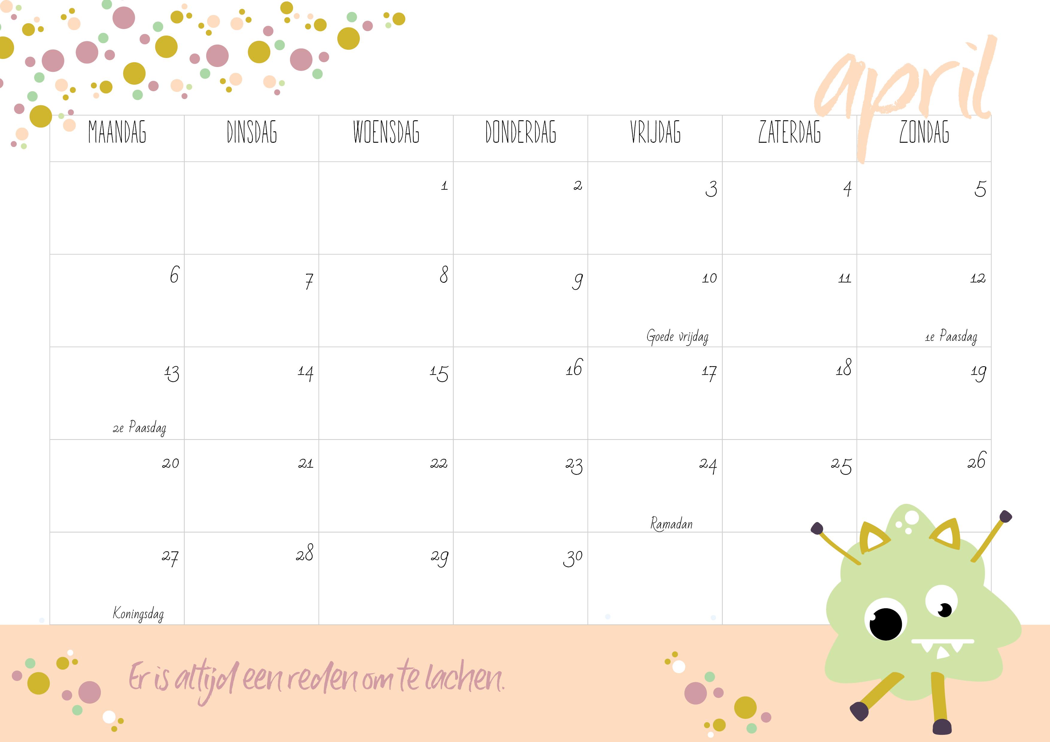 gratis kalender voor 2020