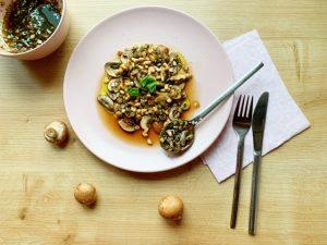 vegetarisch voorgerecht champignon carpaccio