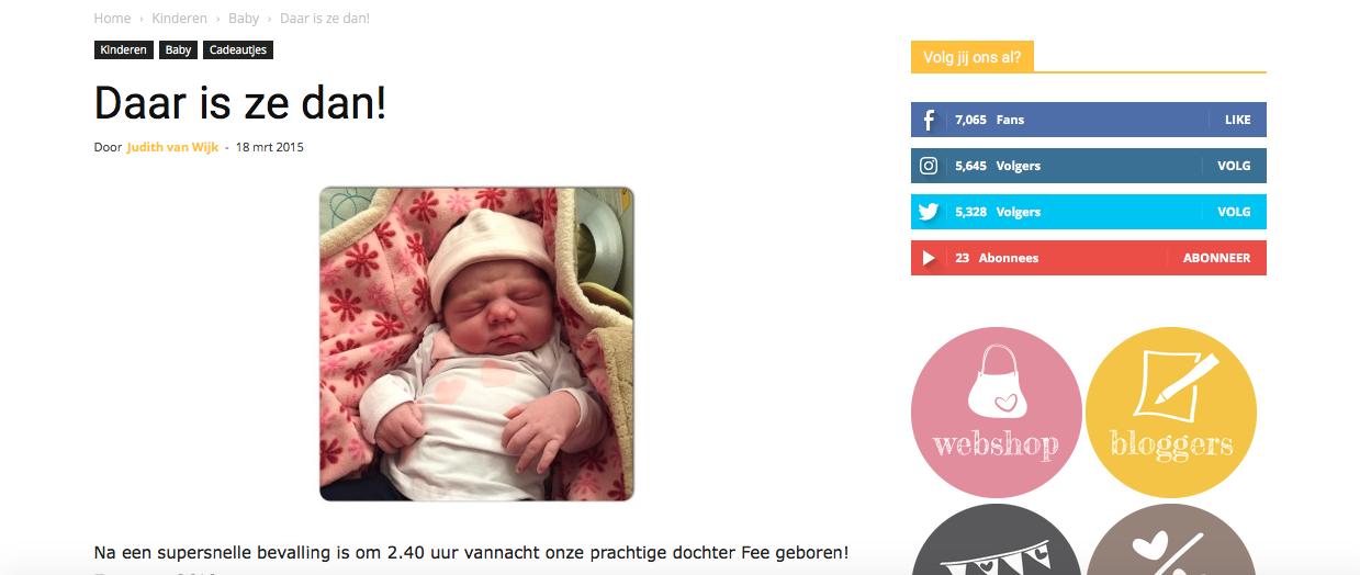 daar is ze dan geboorteaankondiging op internet