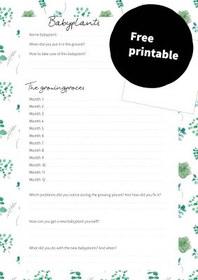Free printable babyplants Free pri