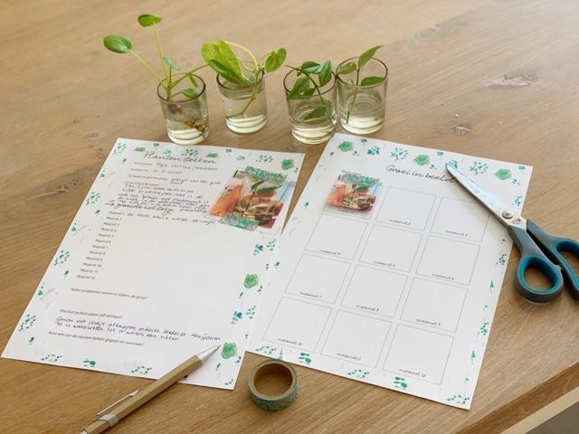 free printable over plantjes stekken op tafel