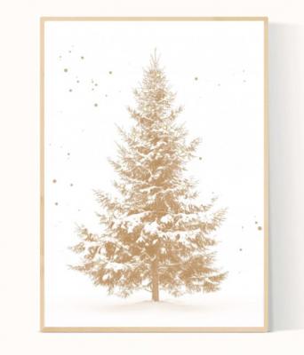 kerstboom poster goud