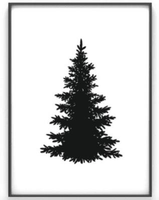 zwarte kerstboom poster printcandy