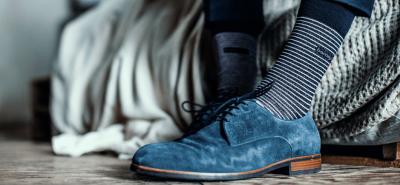 Bamboe sokken als oplossing tegen zweetvoeten blauw met streepjes