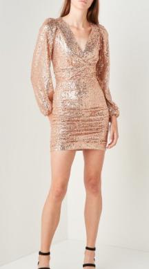 brons glitter jurk Maje