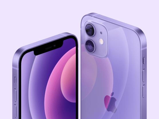 De nieuwe iPhone 12 is paars met hoesje