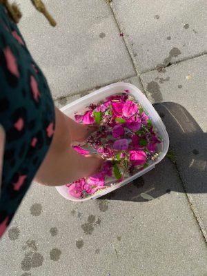 bloemenvoetenbadje