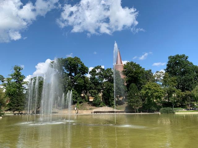 Opole fontein met meer Piastatoren Polen
