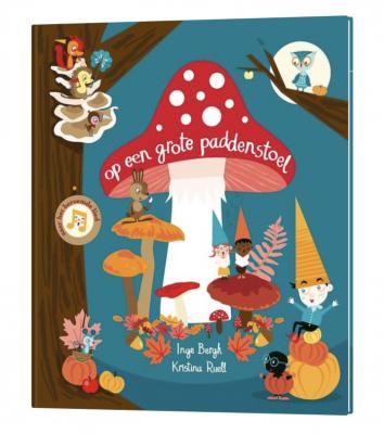 kleurrijk boek op een grote paddenstoel